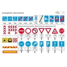 Panelen met alle verkeersborden